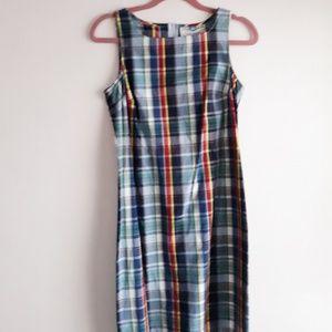 Vintage True Blue Preppy Plaid Sleeveless Dress M